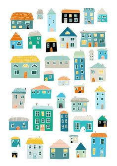 236x335 Little Houses Drawing