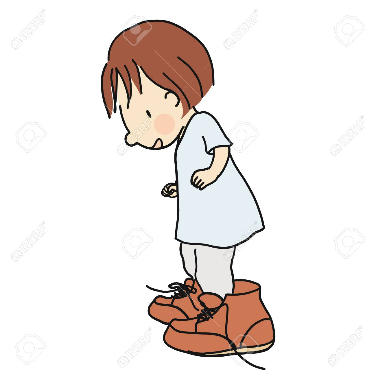 1300x1300 Vector Illustration Of Little Kid Wearing Daddy's Big Brown