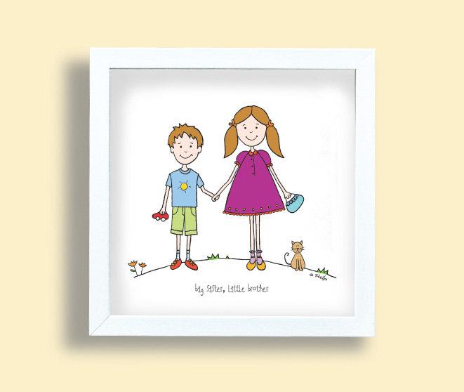 661x558 Big Sister Little Brother Art Print Kids Drawing Children
