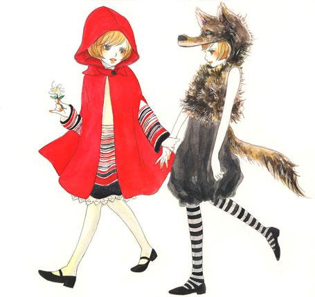 455x429 Art, Cute, Drawing, Little Red Riding Hood, Wolf