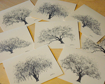 340x270 Lovers Oak Tree Pen And Ink Drawing Art Print Historic