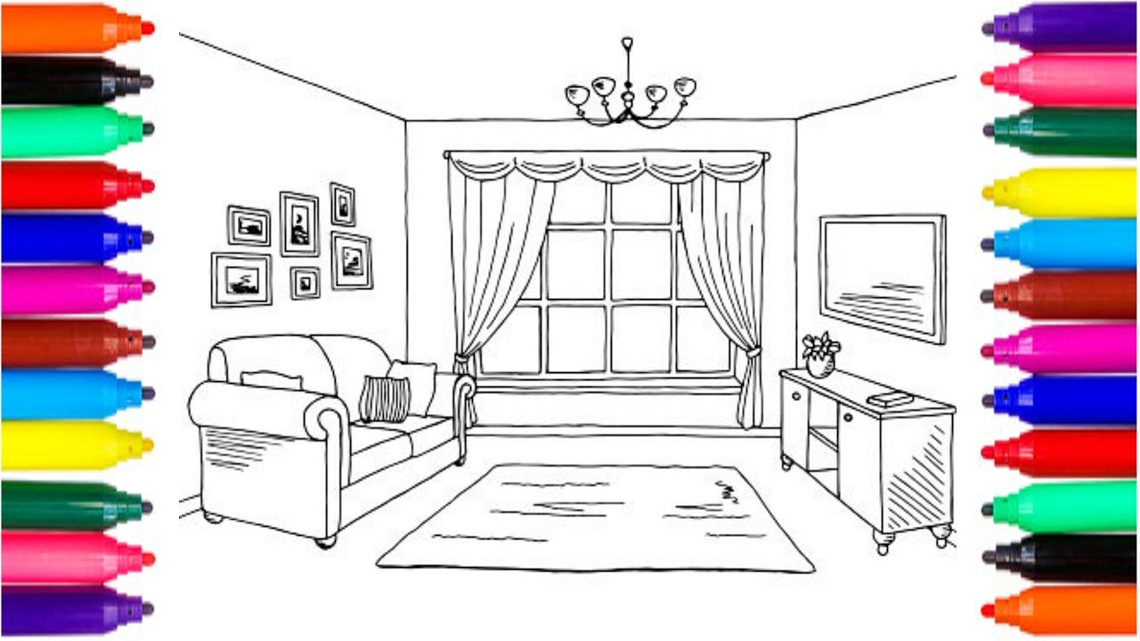 1280x720 Coloring Pages Living Room Drawing Pages To Color For Kids