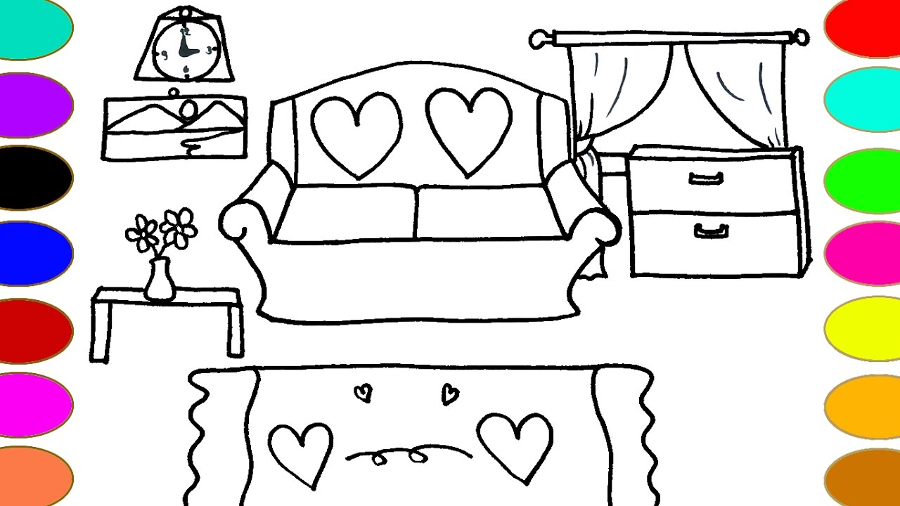 1280x720 Living Room Drawing And Coloring Pages Color With Watercolor