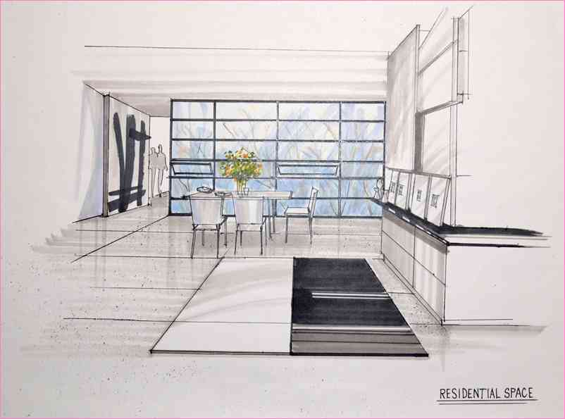 802x595 2 Point Perspective Drawing Living Room