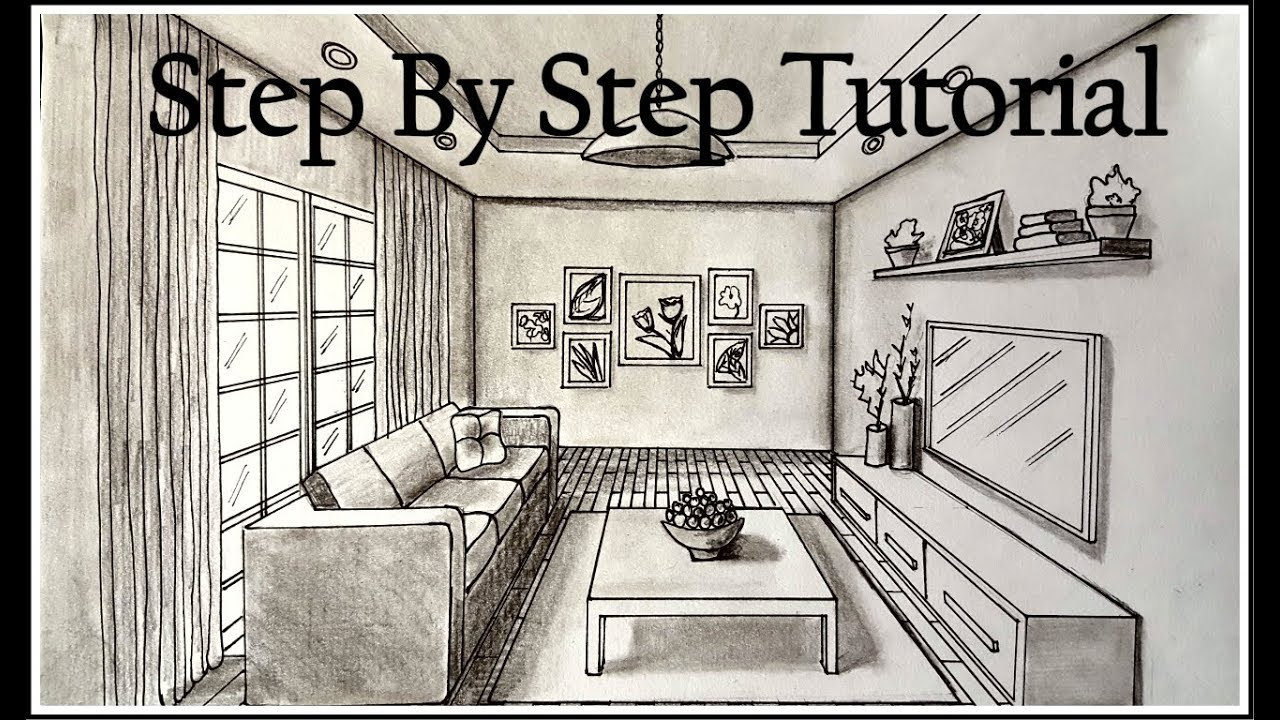 1280x720 How To Draw A Living Room In One Point Perspective Step By Step