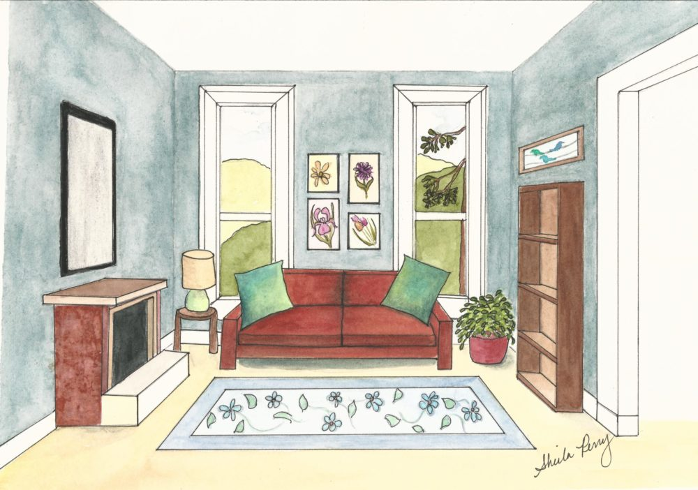 Living room perspective drawing at free - One point perspective living room sketch ...