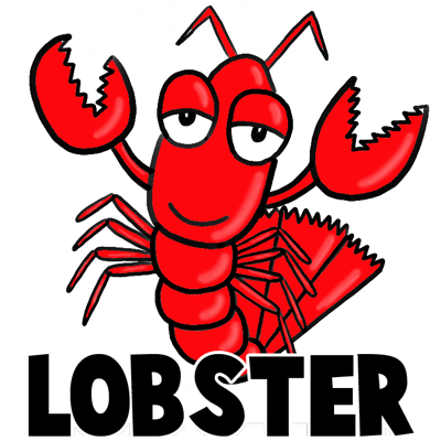 400x400 How To Draw Cartoon Lobsters With Easy Step By Step Drawing