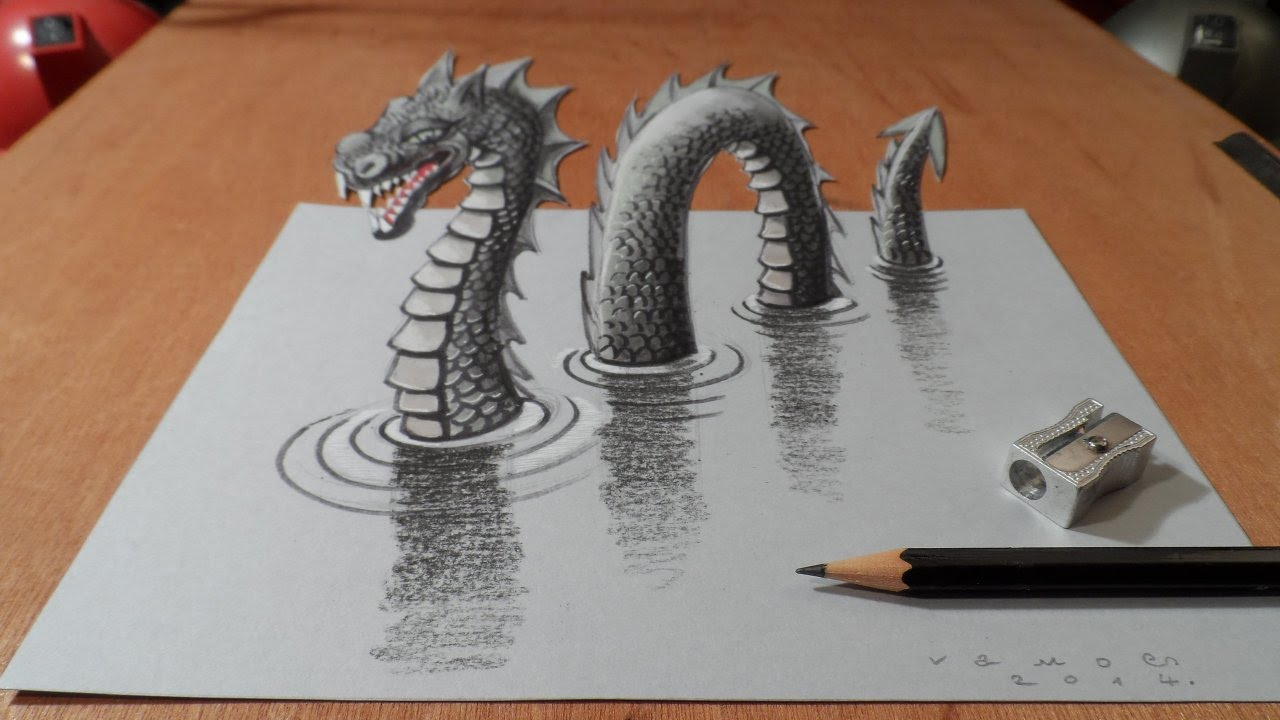 1280x720 Drawing 3d Loch Ness Monster, Long Version