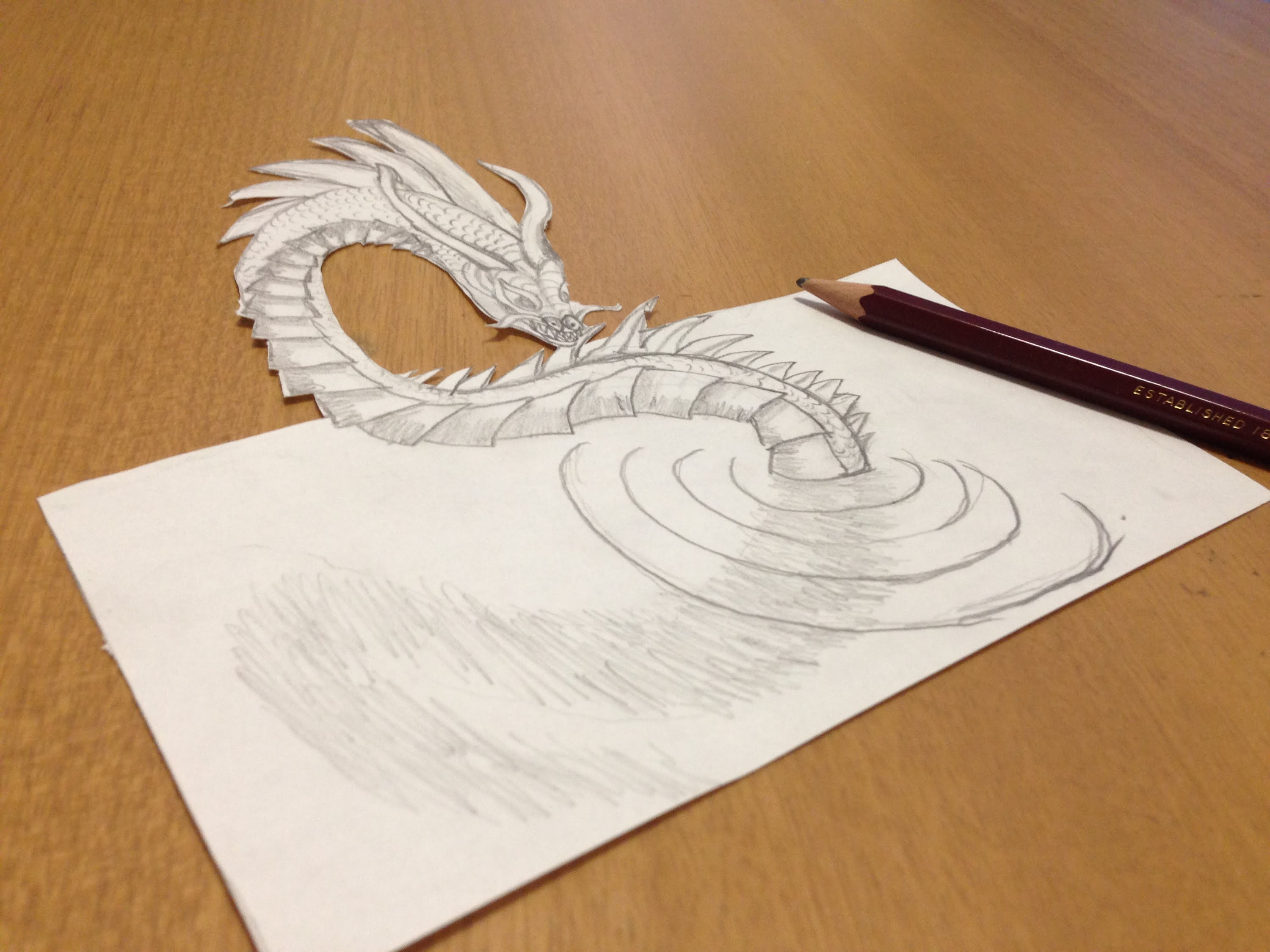 3000x2250 Pencil Drawing A 3d Loch Ness Monster