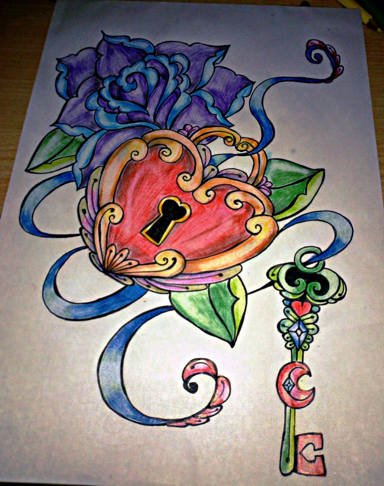 790x1000 Rose Heart Lock Key Old School Tatooo By Pompelina