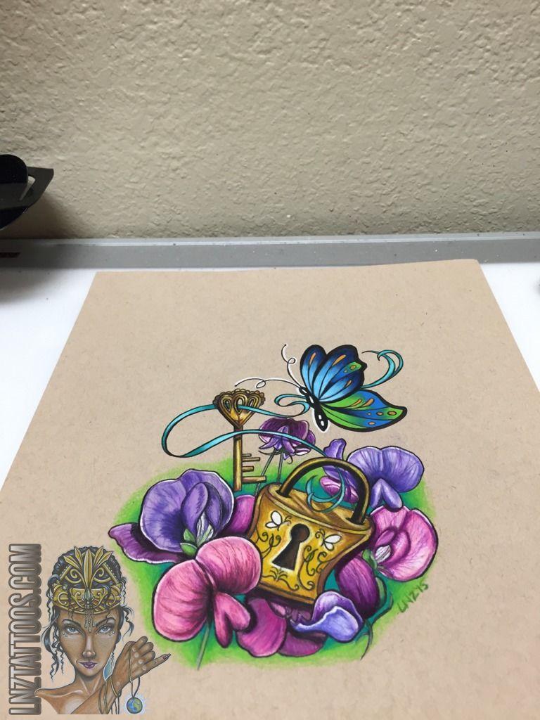 768x1024 Lnztattoosdrawing For Tattoo Art Drawing Butterfly Lock Key