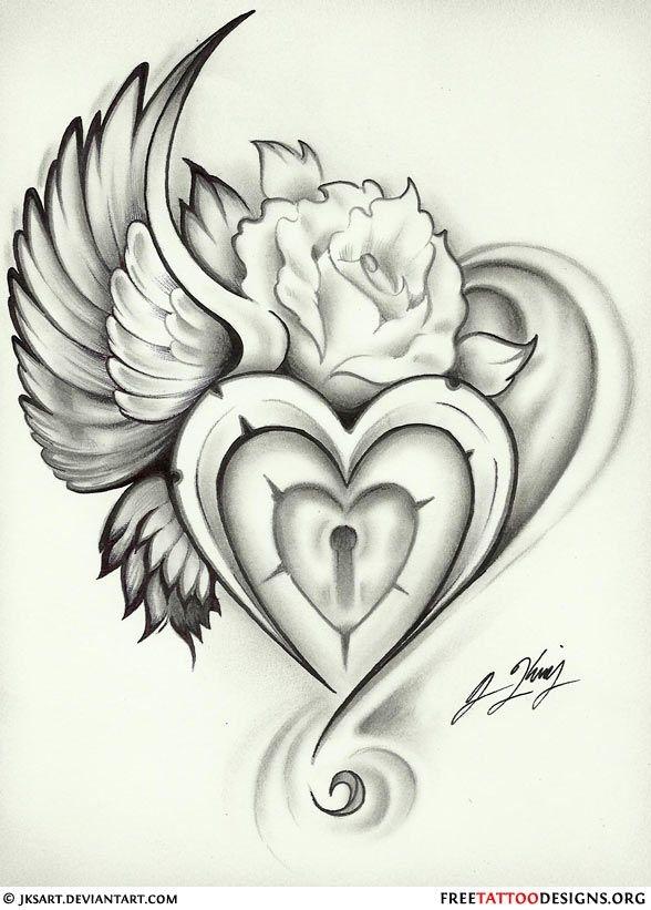 588x821 Wing Heart Lock Rose Tattoo