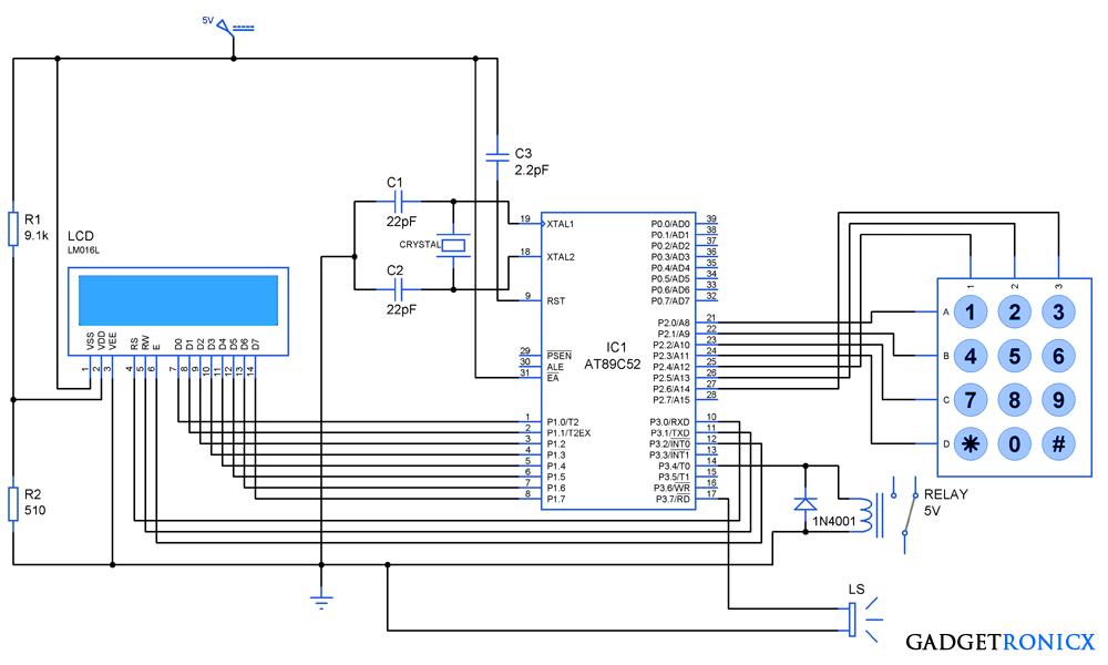 1000x600 Digital Locker System Using 8051 Microcontroller