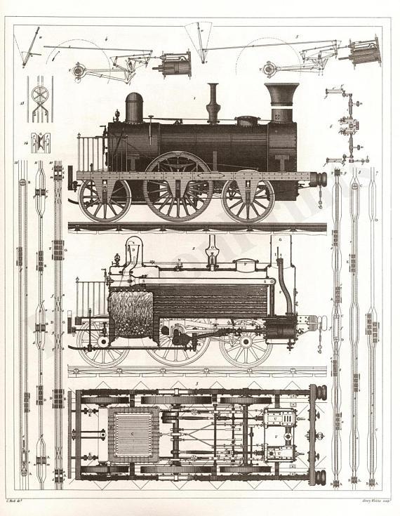 570x735 1850 Railroad Steam Locomotive Drawing New Giclee Art Print