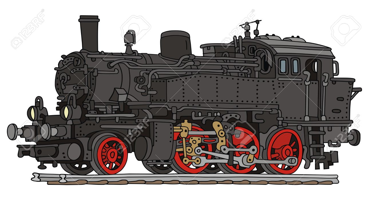 1300x693 Hand Drawing Of Old Steam Locomotive Royalty Free Cliparts