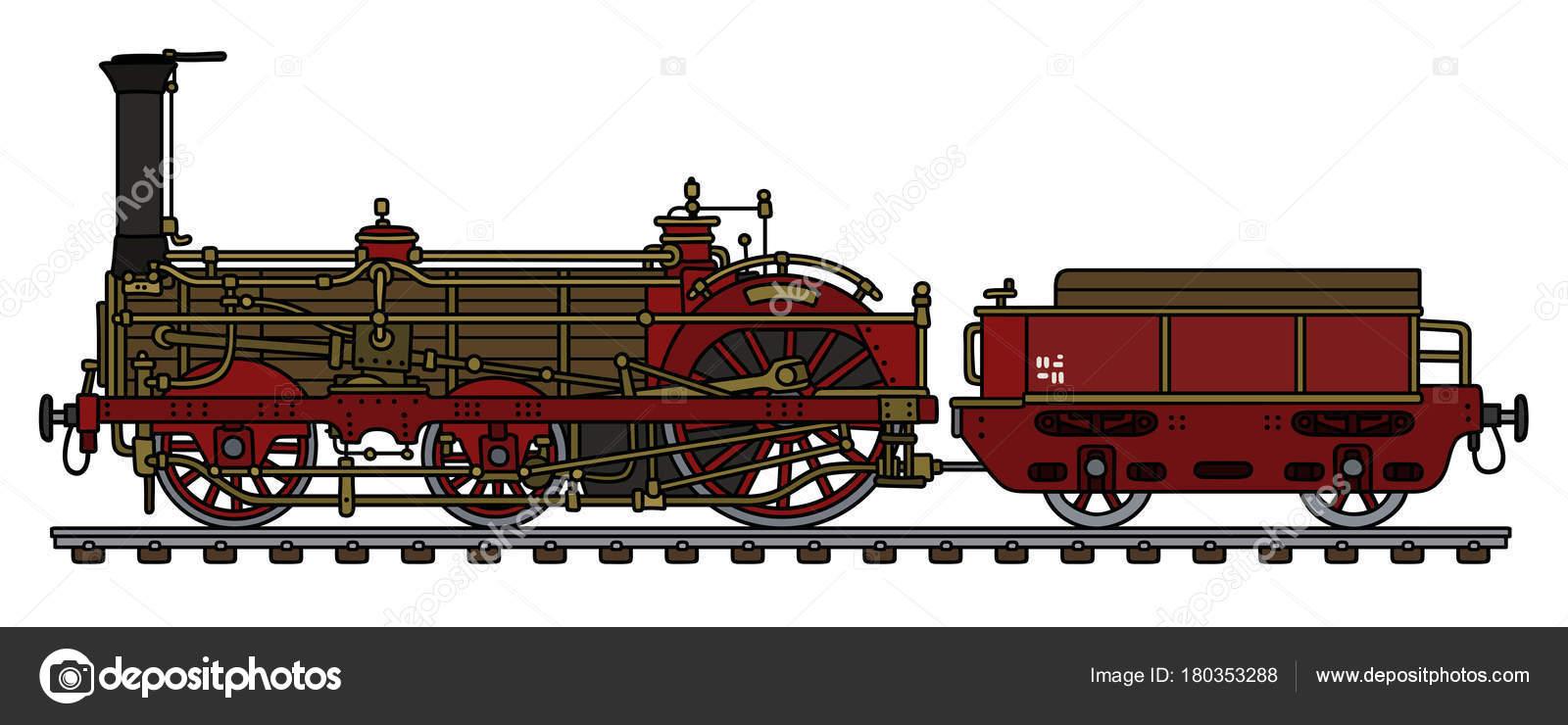 1600x740 Hand Drawing Vintage Steam Locomotive Stock Vector 2v