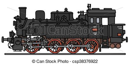 450x223 Old Steam Locomotive. Hand Drawing Of A Classic Steam Vector