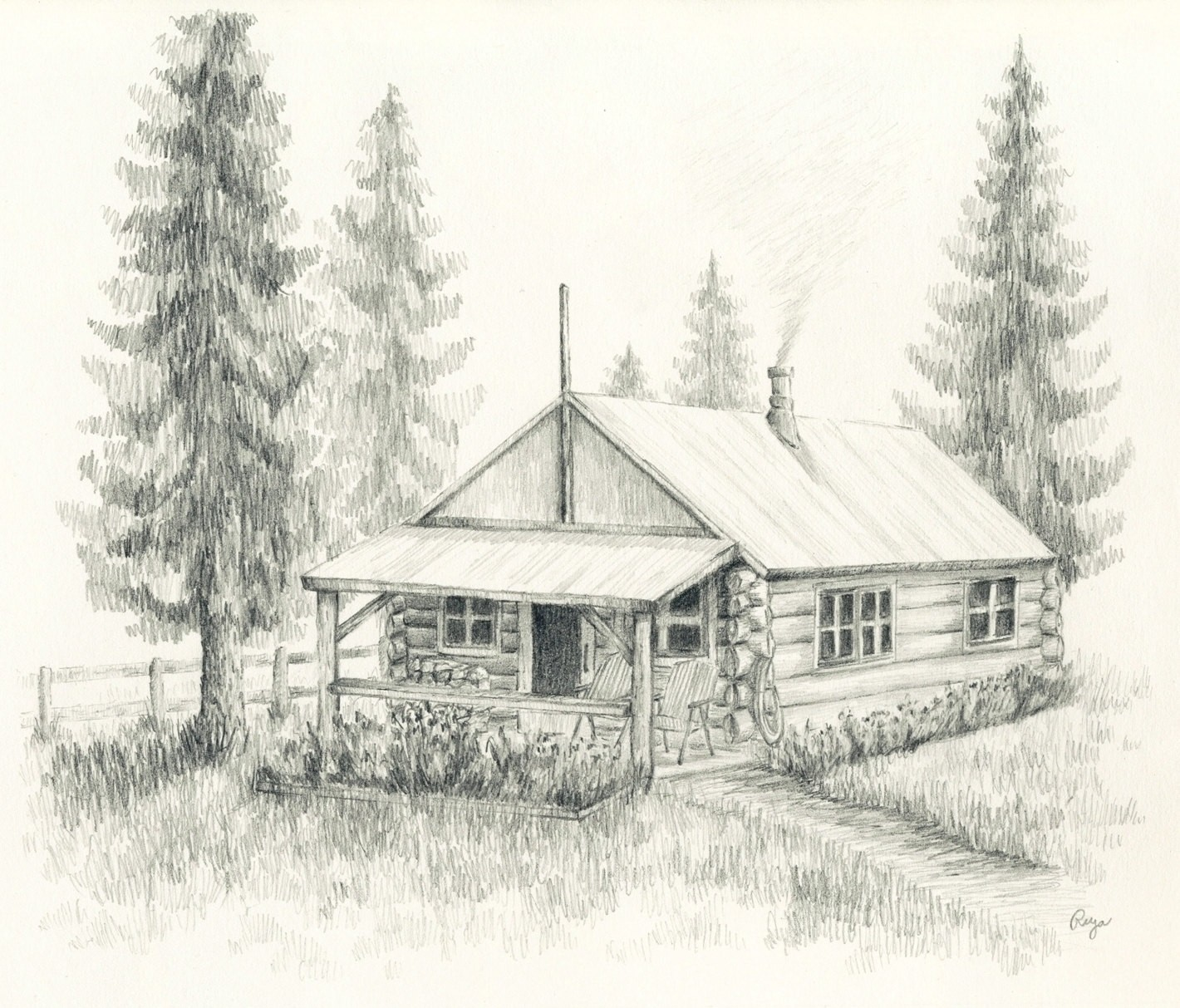 1420x1213 New Log Cabin Drawing