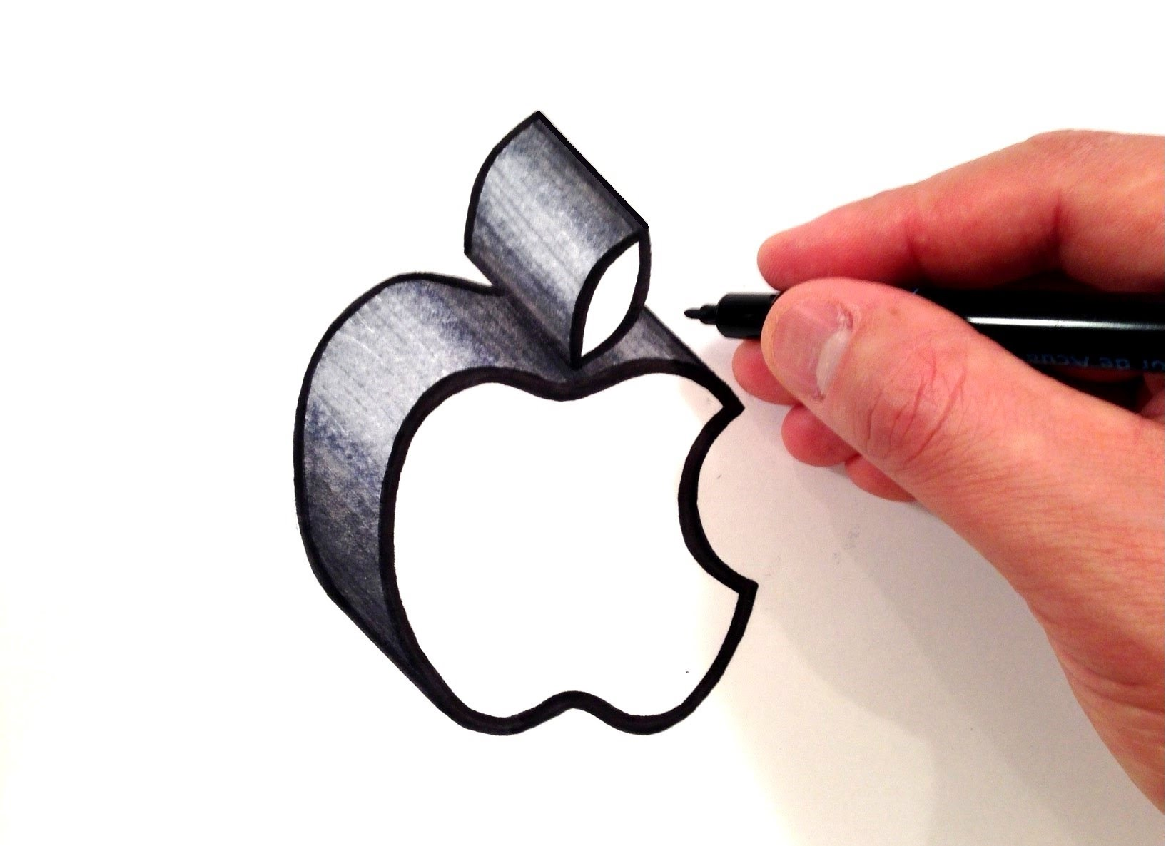 1634x1186 How To Draw The Apple Logo In 3d