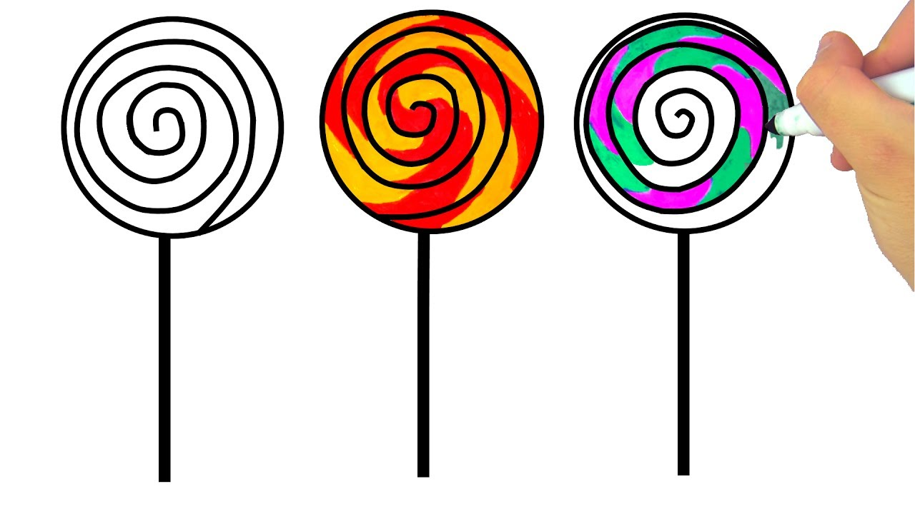 1280x720 How To Draw Lollipop, Candies, Coloring Pages Sweets Art Colors