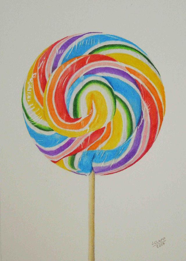 640x900 Rainbow Lollipop Drawing By John Clapp