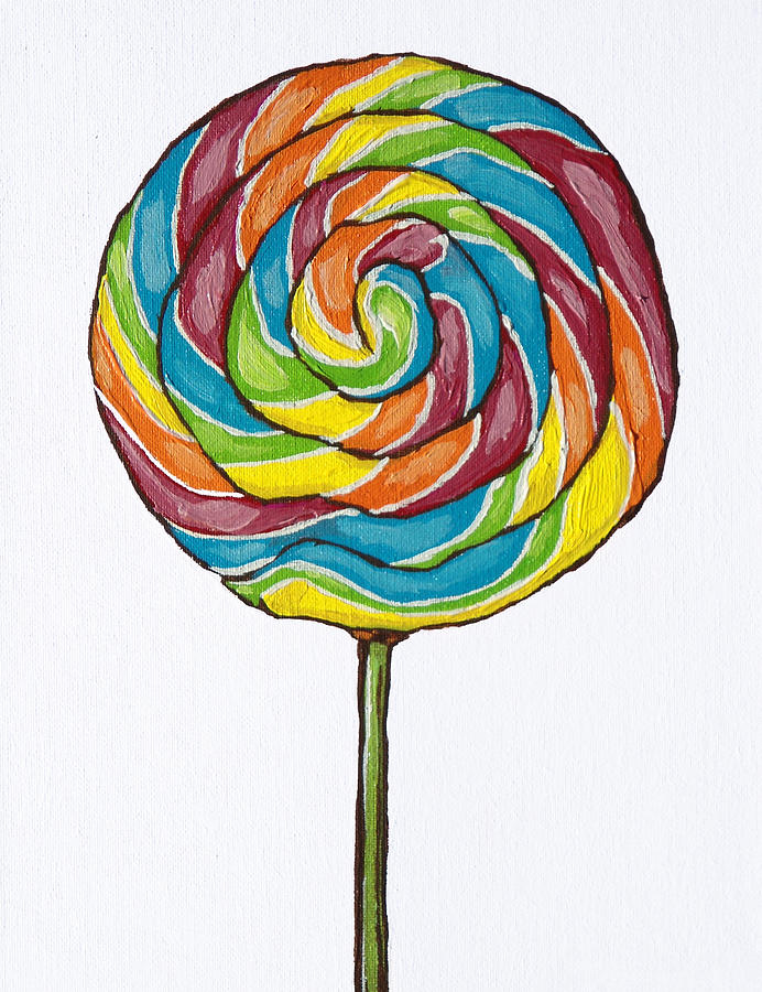 692x900 Rainbow Lollipop On White Painting By Sandy Tracey