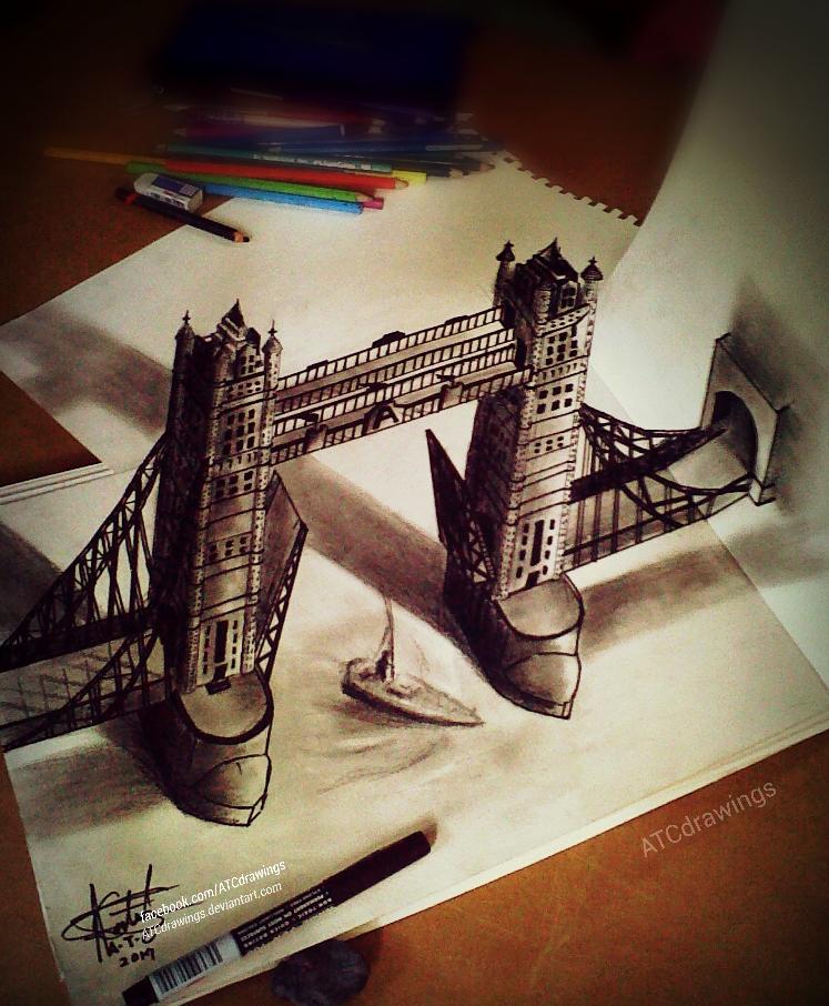 747x906 London Bridge 3d Drawing By Atcdrawings