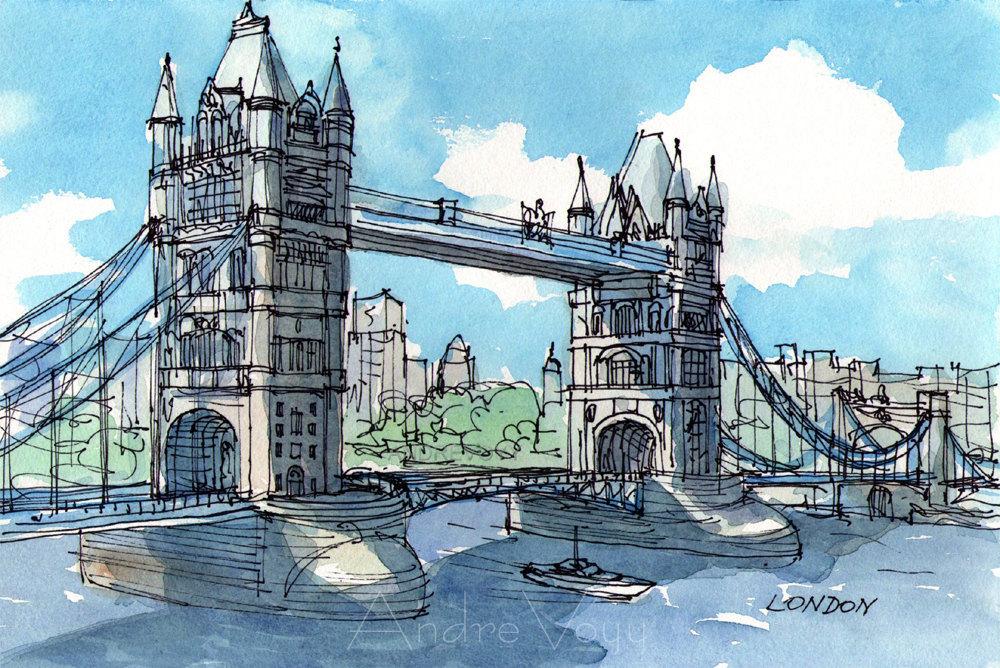 1000x668 London Tower Bridge 2nd Art Print From An Original