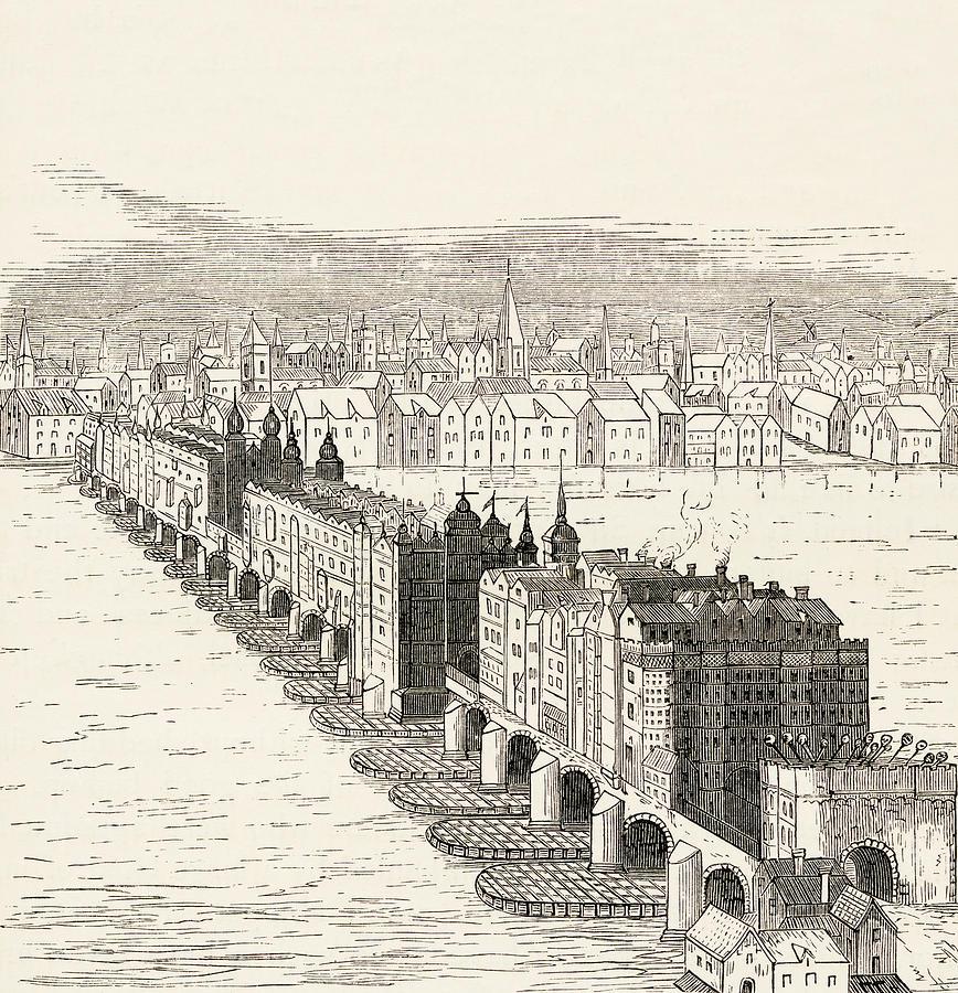 868x900 Old London Bridge, London, England Drawing By Vintage Design Pics