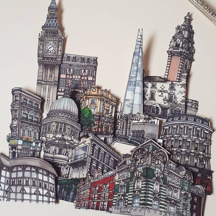 750x750 Nomadic Illustrator Matches London's Iconic Pubs With Paper Cut