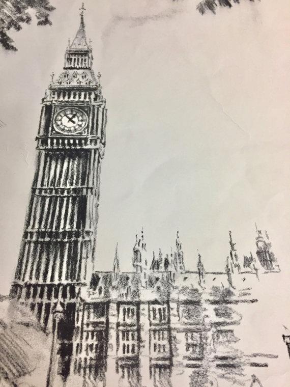 570x760 Big Ben Westminster Vintage Print Gordon Sommers Signed