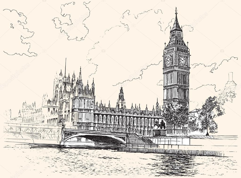 1024x757 Big Ben And Houses Of Parliament, Westminster, London, Hand Draw