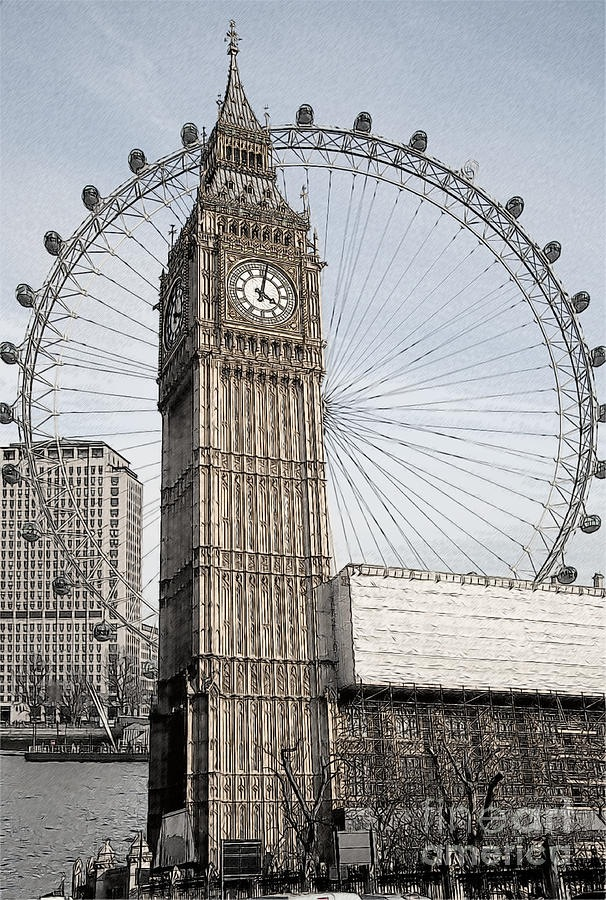 606x900 A Fantastic Drawing Of Big Ben And The London Eye. Amazing
