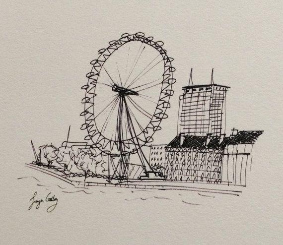 570x494 London Eye Giclee Print Of Original Fine Art Ink Drawing By Freya