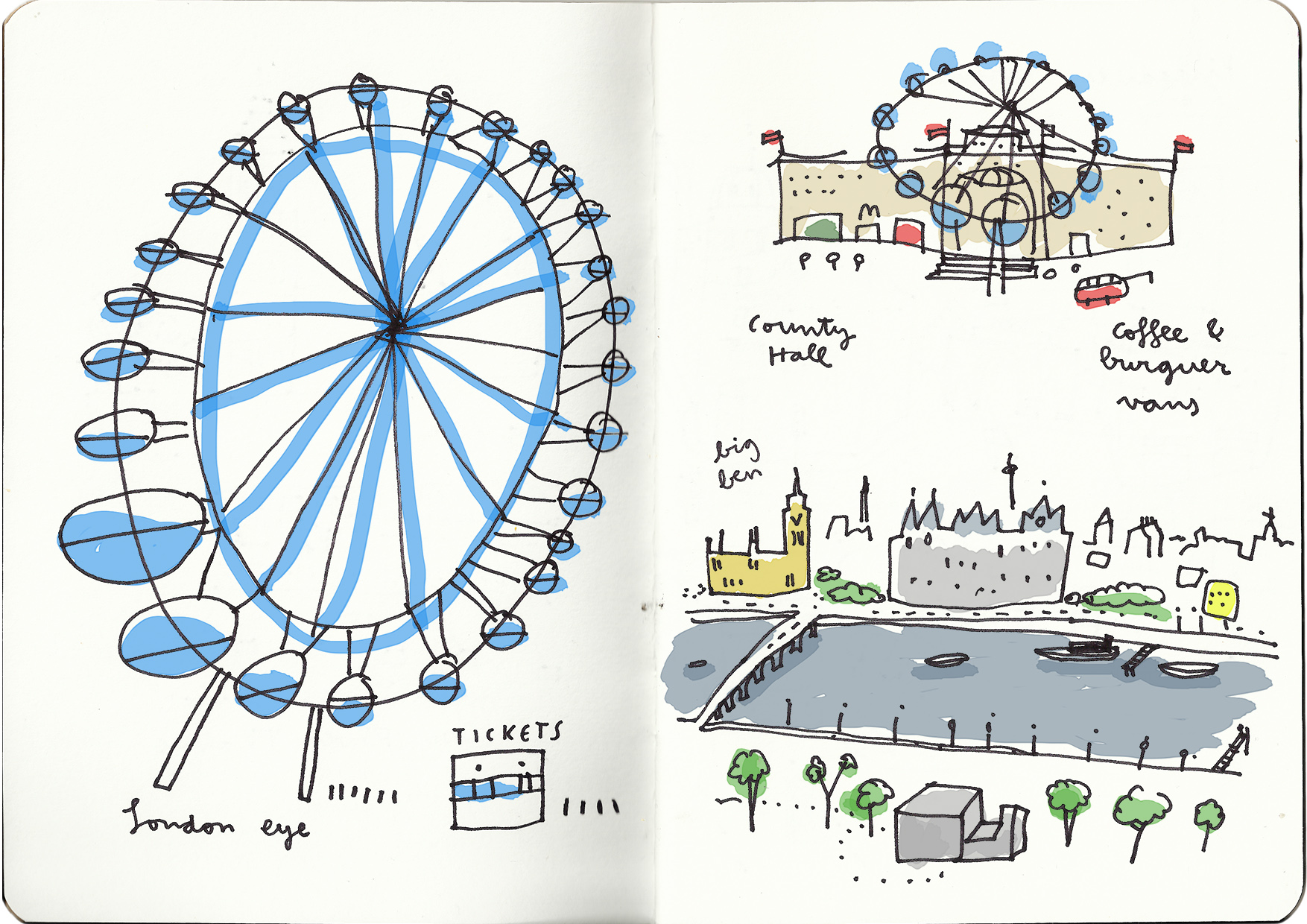 1754x1240 London An Artist's Year (I) London Eye, Illustrations And Croquis