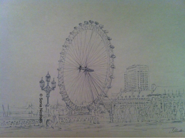 640x478 The London Eye Art Sketches, Drawings With Pencil, Pen And Ink