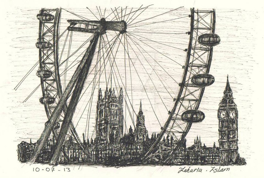 900x606 The London Eye And The Big Ben By Zakariaislam97