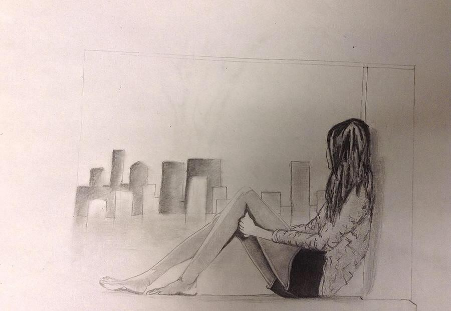 900x622 lonely girl drawing by stephanie atkinson