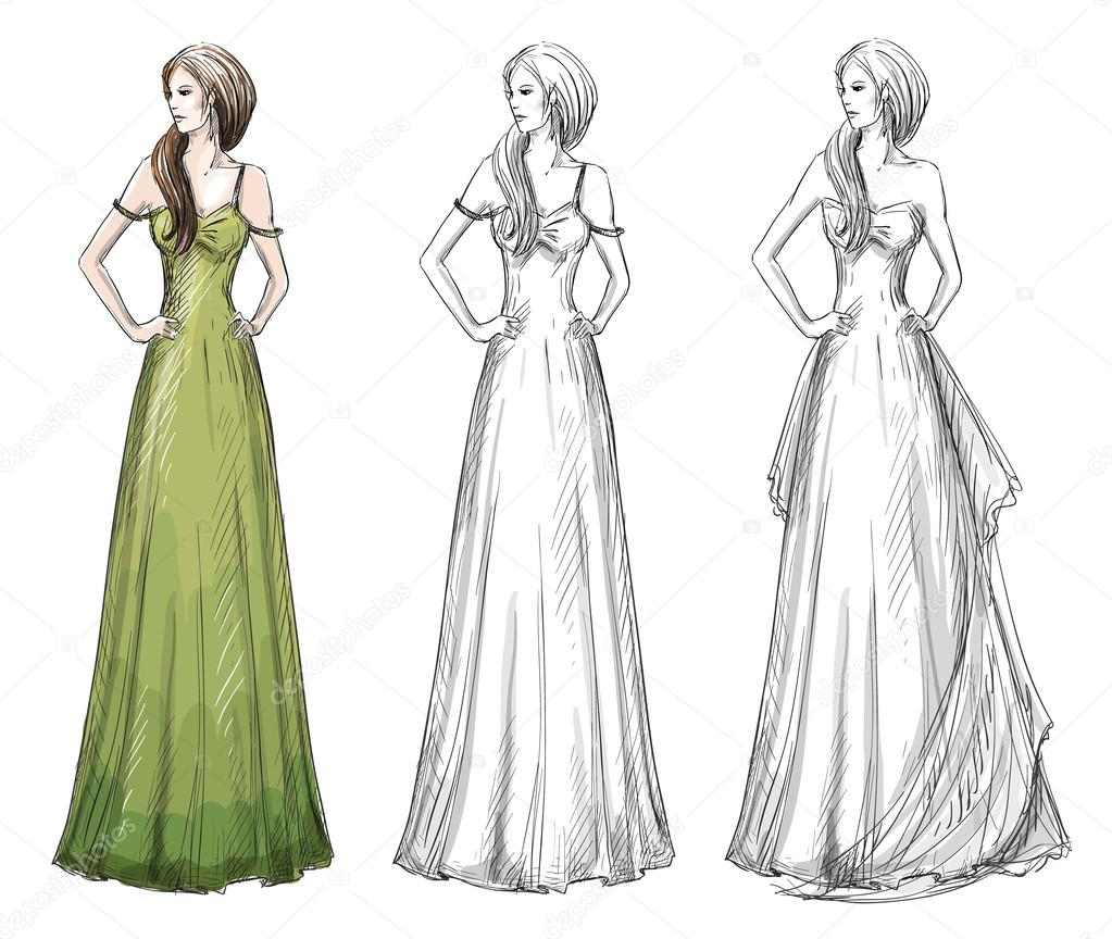 1023x864 Fashion Hand Drawn Illustration. Vector Sketch. Long Dress