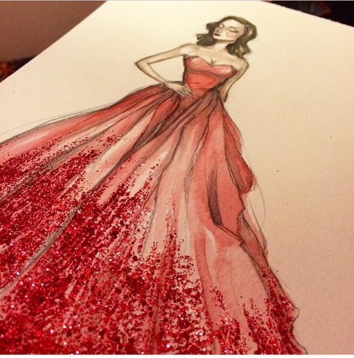 500x505 Art, Drawing, Dress, Fashion, Long Dress