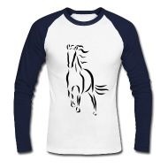 190x190 Galloping Horse Stallion Mare Drawing Long Sleeve Shirt Spreadshirt