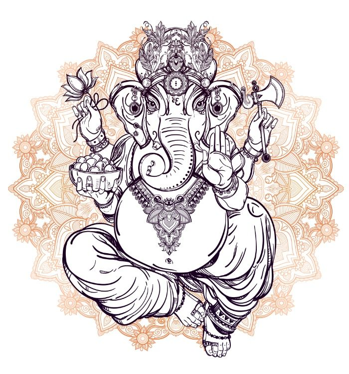 700x749 Lord Ganesha On Mandala By Aloke Design Drawing, Ganesh, Mandala