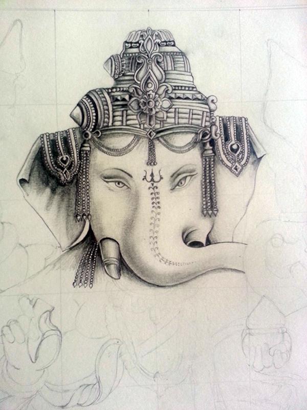 600x800 lord ganesh pencil drawing on behance