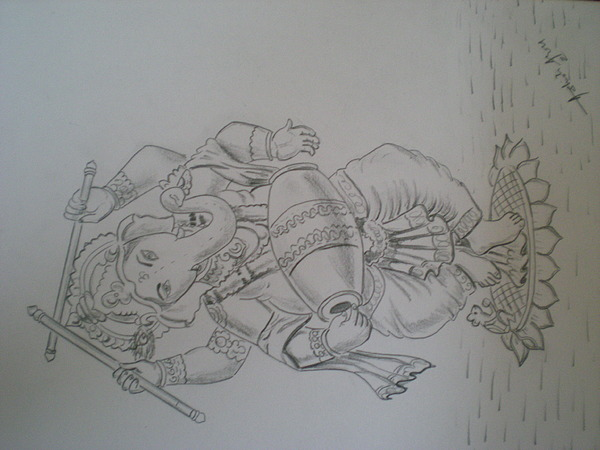 600x450 lord ganesha drawing by ashish arora
