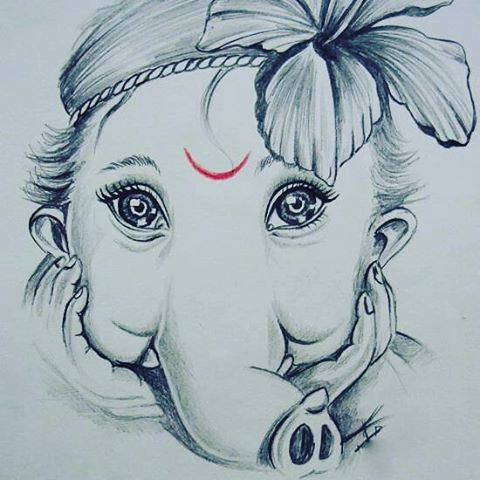 480x480 lord ganesha pencil sketch images