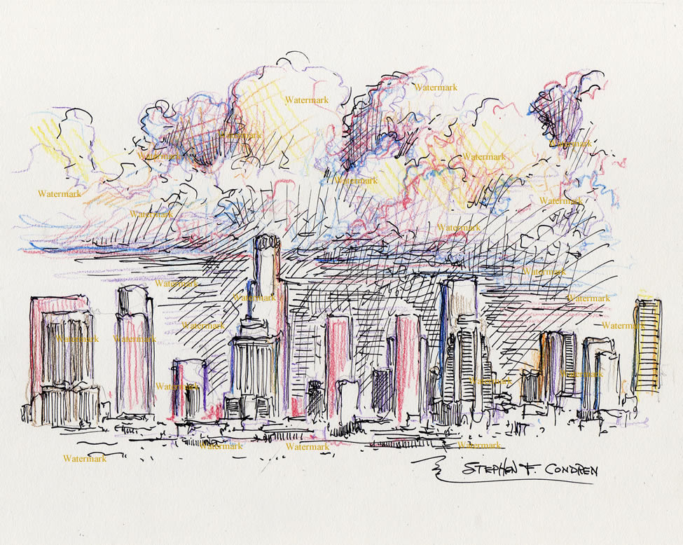975x778 Angeles Skyline Color Pencil Drawing Of Downtown