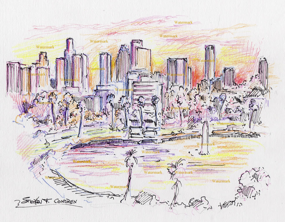 975x762 Angeles Skyline Color Pencil Drawing Of Downtown