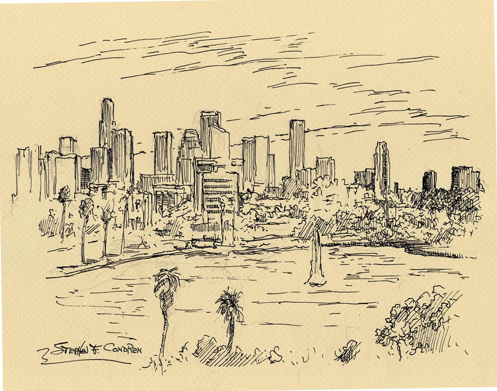 975x767 Angeles Skyline Pen Amp Ink Drawing Of Downtown From Echo Park Lake.