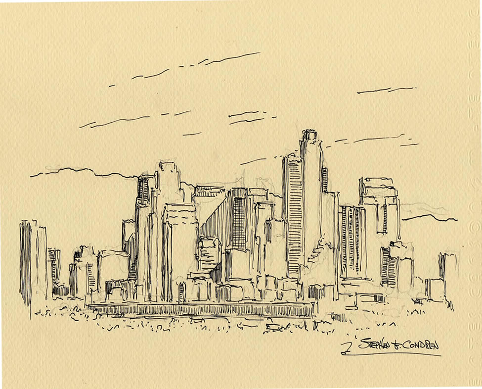 975x786 Angeles Skyline Pen Amp Ink Drawing Of Downtown Skyscrapers.