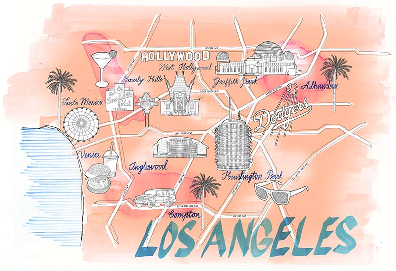 800x548 Los Angeles City Map Drawing